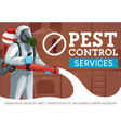exterminator spraying insecticide pest control vector image