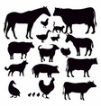 farm animals collection - silhouette vector image vector image