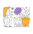 flat girl taking care of plants vector image