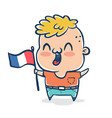 french boy with flag of france vector image vector image