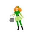 girl with red hair standing with cauldron young vector image vector image