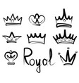 hand drawn crowns logo and icon collection vector image