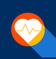 heartbeat sign white icon on vector image vector image