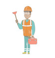 hispanic plumber holding plunger and tool box vector image