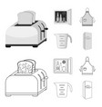kitchen equipment outlinemonochrome icons in set vector image
