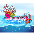 Lobster and coral reef in the ocean vector image