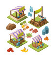 local farm isometric food marketplaces with meat vector image vector image
