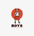 logo boys mascot cartoon style vector image
