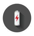 low level battery charge level indicator with vector image vector image