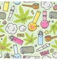 Marijuana kawaii cartoon seamless vector image vector image