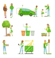 Men And Women Contributing Into Environment vector image vector image