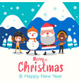 merry christmas happy christmas companions santa vector image vector image