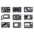 microwave oven icon set simple style vector image