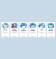 mobile app onboarding screens cloud storage vector image vector image