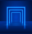 neon show light podium blue background vector image vector image