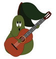 pear with guitar on white background vector image vector image
