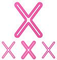Pink line x logo design set vector image vector image