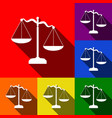 scales of justice sign set of icons with vector image vector image