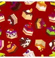 Seamless pattern with pieces of cakes vector image