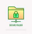 secure folder thin line icon vector image