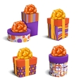 set collection colorful celebration gift boxes vector image