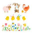 Set cute easter characters and design elements