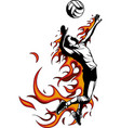 silhouette of volleyball player with flames vector image vector image