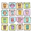 Sketch emoticons stickers set vector image vector image