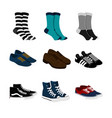 socks and shoes fashion style item set vector image