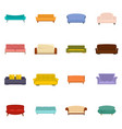 sofa chair room couch icons set isolated vector image vector image