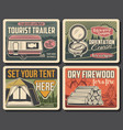 summer camping tourist trailer firewood and tent vector image vector image