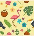 summer endless texture with exotic birds and vector image