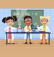 three young children in a chemistry class vector image