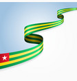 togolese flag wavy abstract background vector image vector image