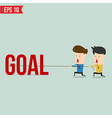 two businessmen playing tug war pull business vector image