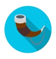 viking horn icon in flat style isolated on white vector image vector image