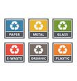 waste sorting labels set waste managment vector image