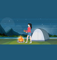 woman hiker making fire girl holding firewood vector image