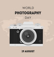world photography day greeting card square banner vector image vector image