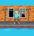 young boy hit the window vector image vector image