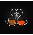 coffee tea love concept background vector image
