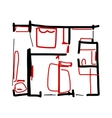 House plan doodle for your design vector image
