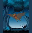 a bat flying at night forest vector image vector image