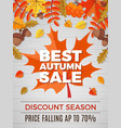 autumn poster of sales orange and yellow leaves vector image vector image