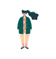 brunette curvy girl in fashion trendy clothes vector image vector image