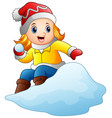 cartoon girl playing snowbo vector image