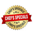 chefs specials 3d gold badge with red ribbon vector image vector image