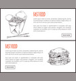 chinese noodle and american burger graphic art vector image vector image