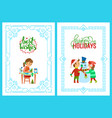 christmas holidays girl with card kids and snowman vector image vector image