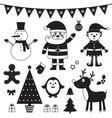Christmas set isolated black elements vector image